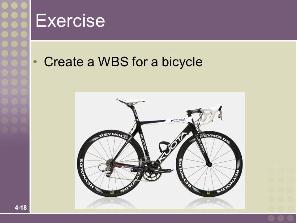 Exercise Create a WBS for a bicycle