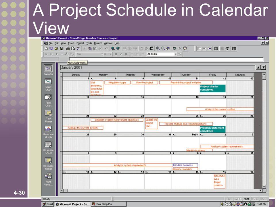 A Project Schedule in Calendar View