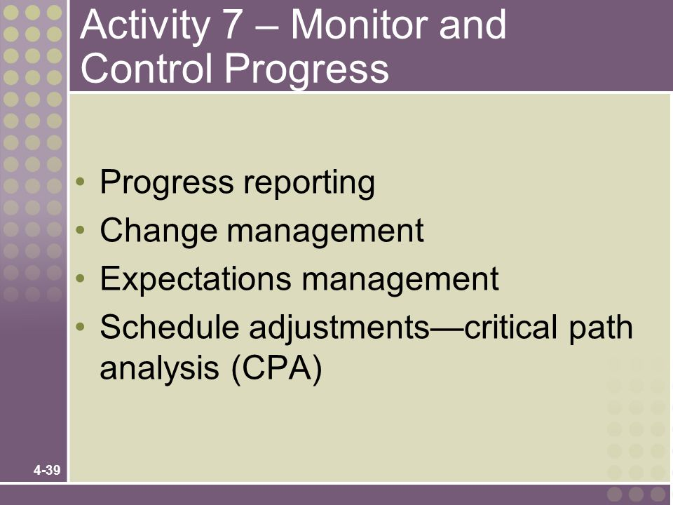 Activity 7 – Monitor and Control Progress