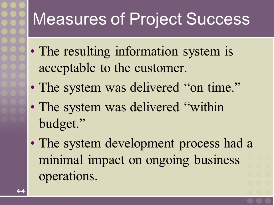 Measures of Project Success