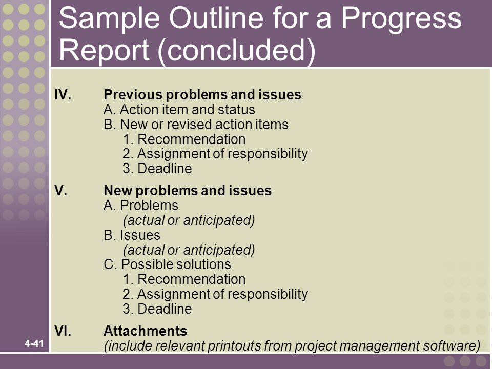 Sample Outline for a Progress Report (concluded)