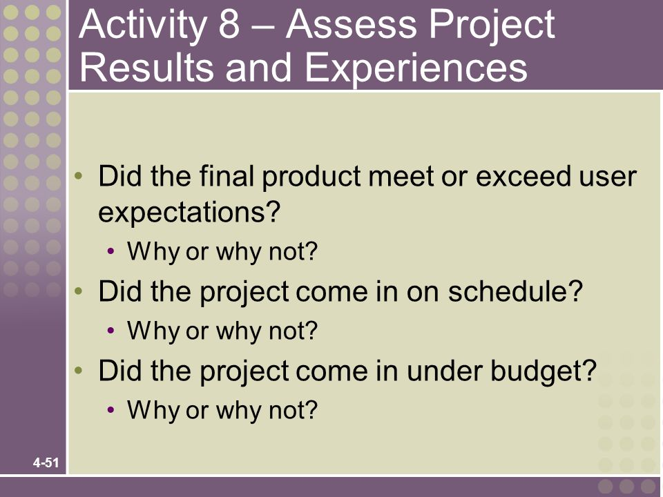 Activity 8 – Assess Project Results and Experiences