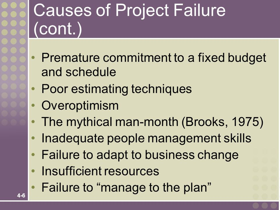 Causes of Project Failure (cont.)
