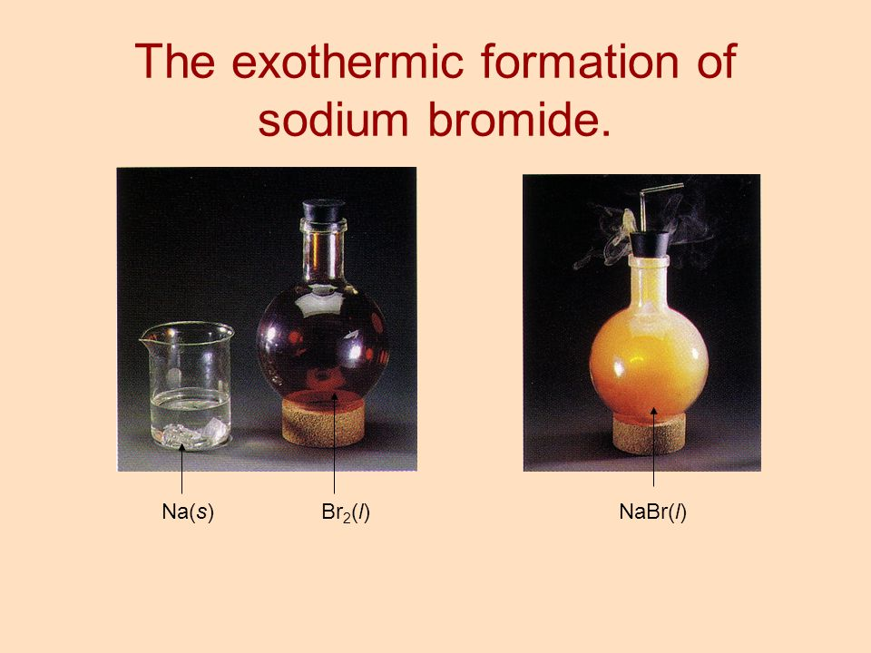 The exothermic formation of sodium bromide.
