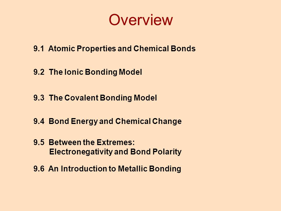 Overview 9.1 Atomic Properties and Chemical Bonds