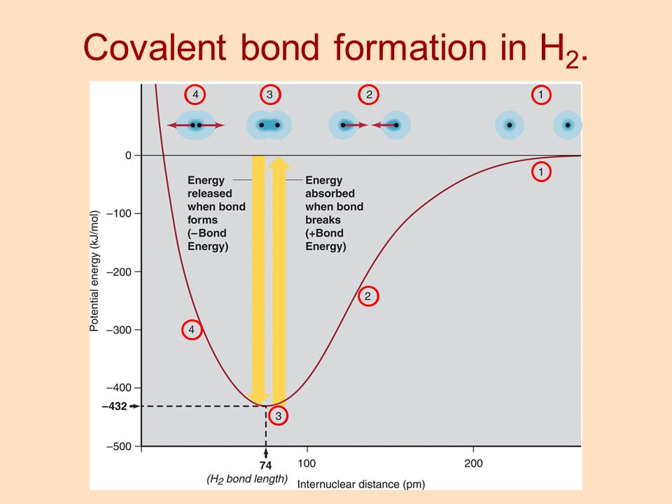 Covalent bond formation in H2.