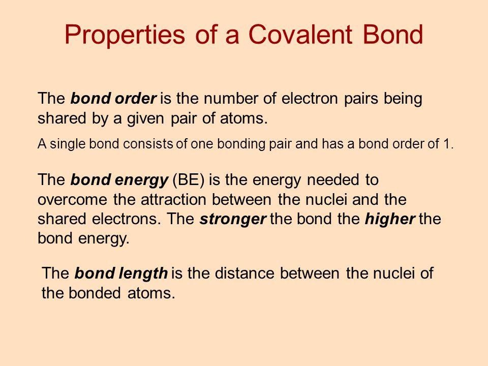 Properties of a Covalent Bond