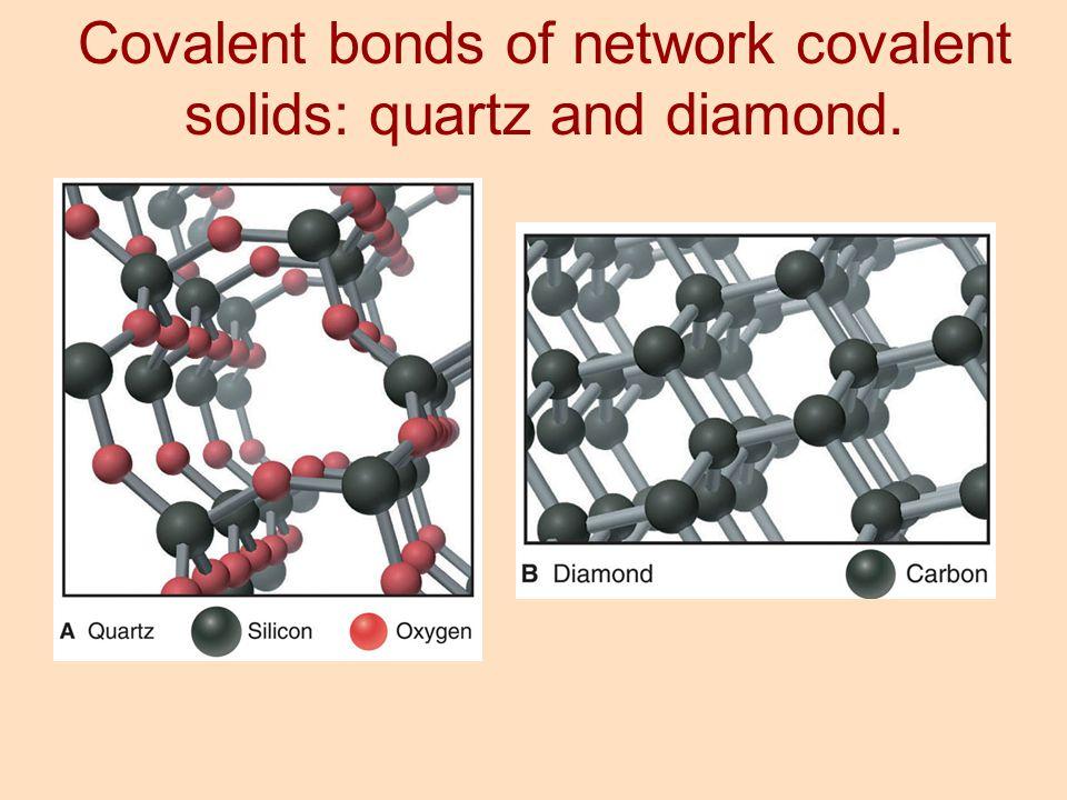 Covalent bonds of network covalent solids: quartz and diamond.