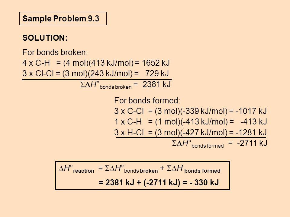 Sample Problem 9.3 SOLUTION: For bonds broken: 4 x C-H = (4 mol)(413 kJ/mol) = 1652 kJ. 3 x Cl-Cl = (3 mol)(243 kJ/mol) = 729 kJ.