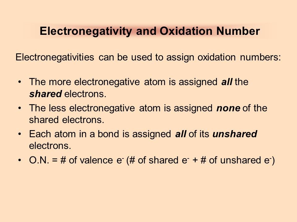 Electronegativity and Oxidation Number