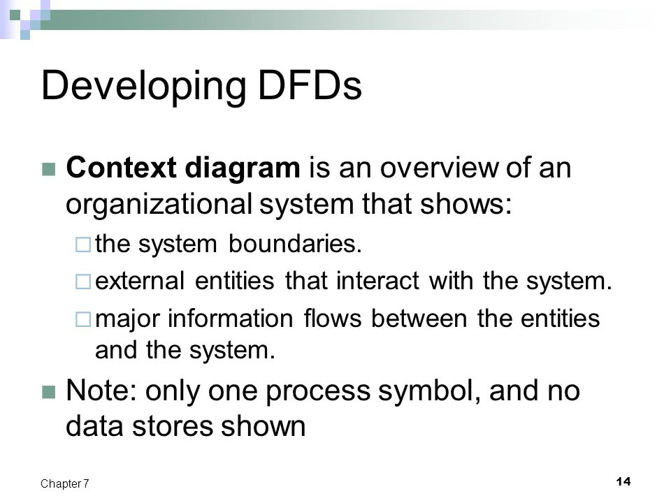 Developing DFDs Context diagram is an overview of an organizational system that shows: the system boundaries.