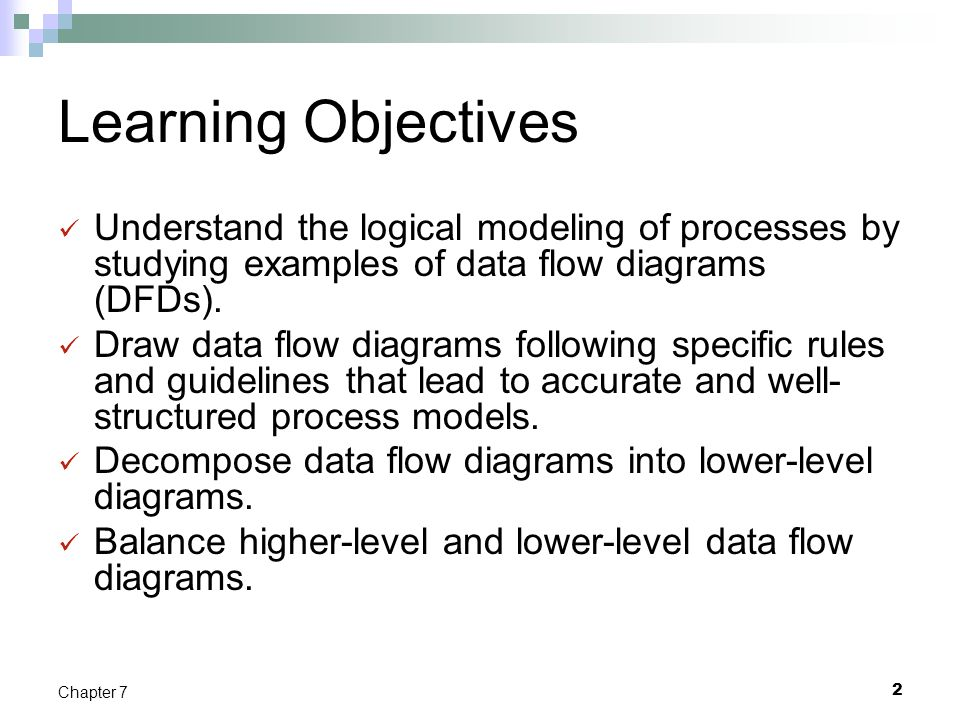 Learning Objectives Understand the logical modeling of processes by studying examples of data flow diagrams (DFDs).