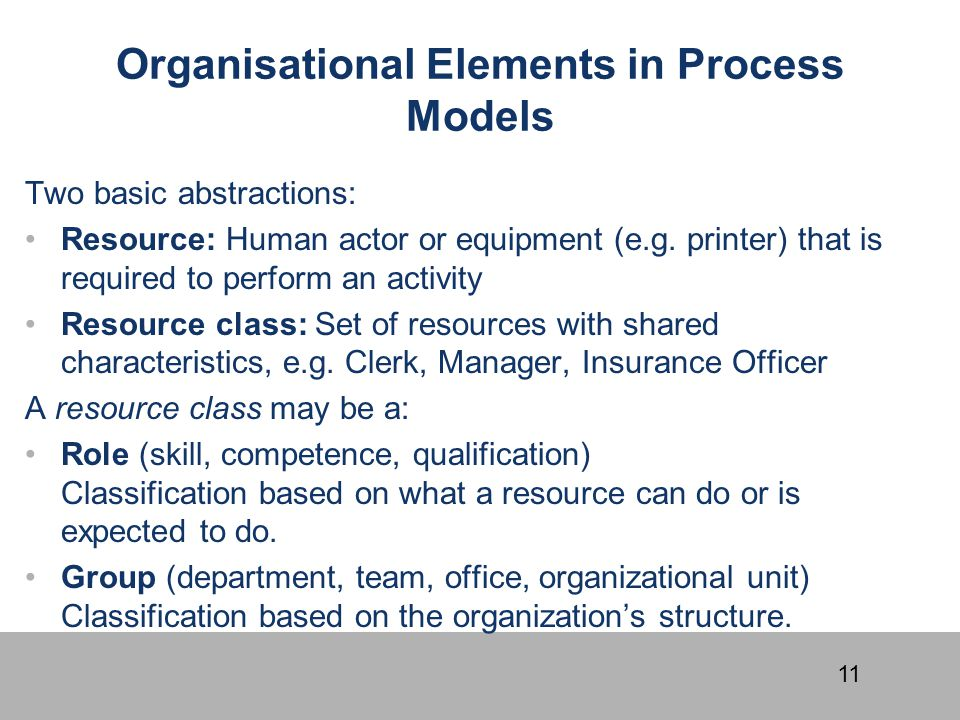 Organisational Elements in Process Models