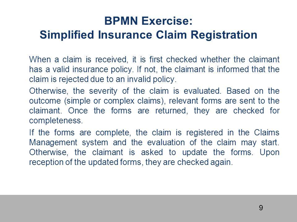 BPMN Exercise: Simplified Insurance Claim Registration