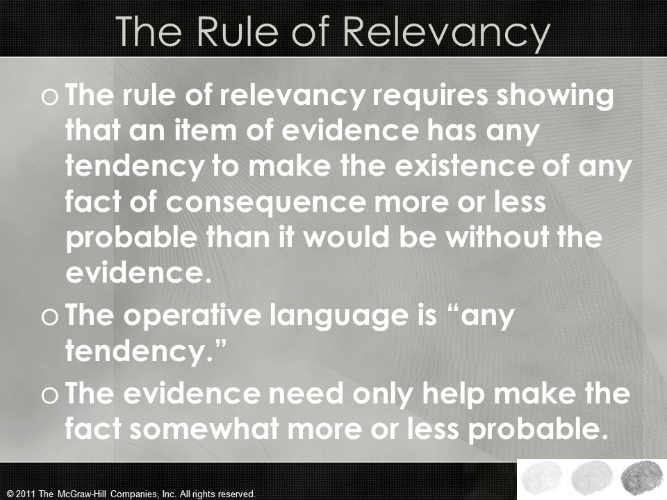 The Rule of Relevancy