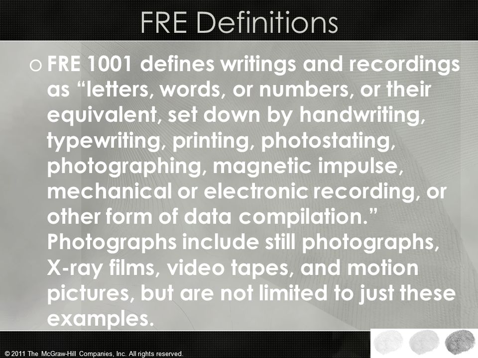 FRE Definitions