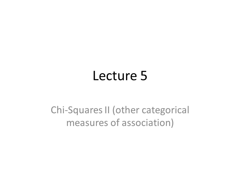 Chi-Squares II (other categorical measures of association)