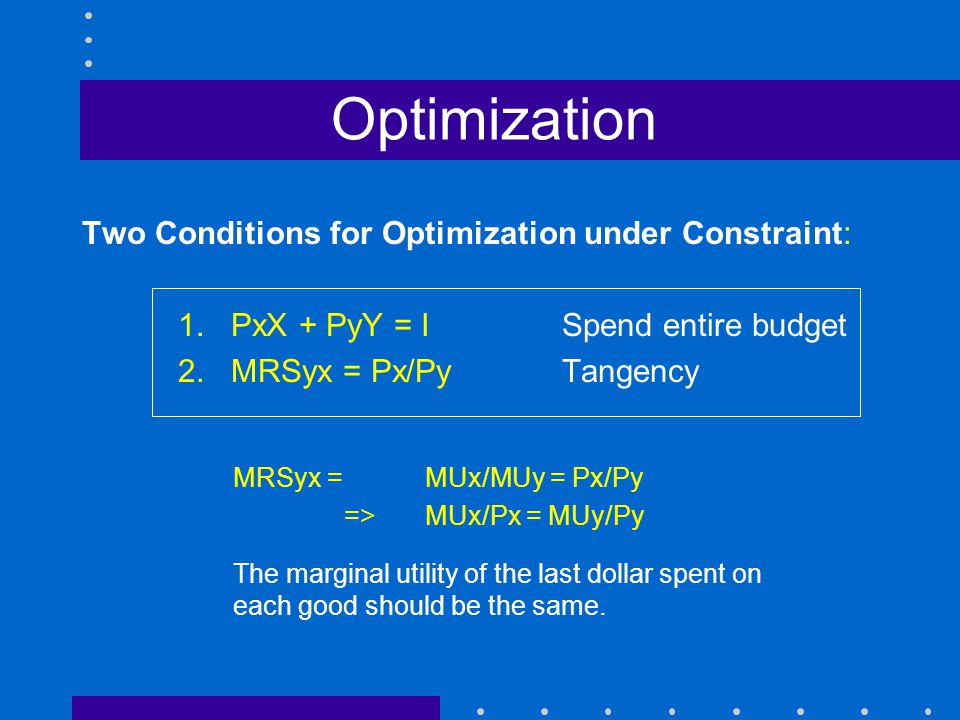 Optimization Two Conditions for Optimization under Constraint: