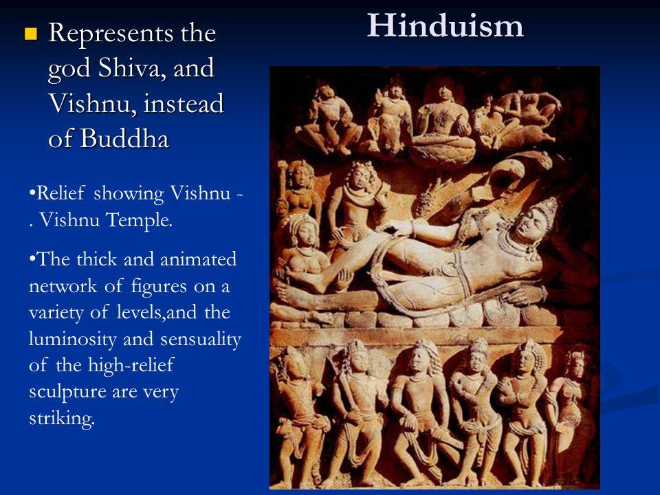 Hinduism Represents the god Shiva, and Vishnu, instead of Buddha