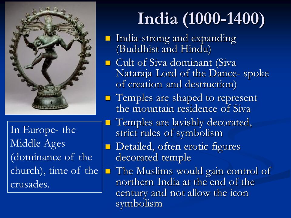 India (1000-1400) India-strong and expanding (Buddhist and Hindu)