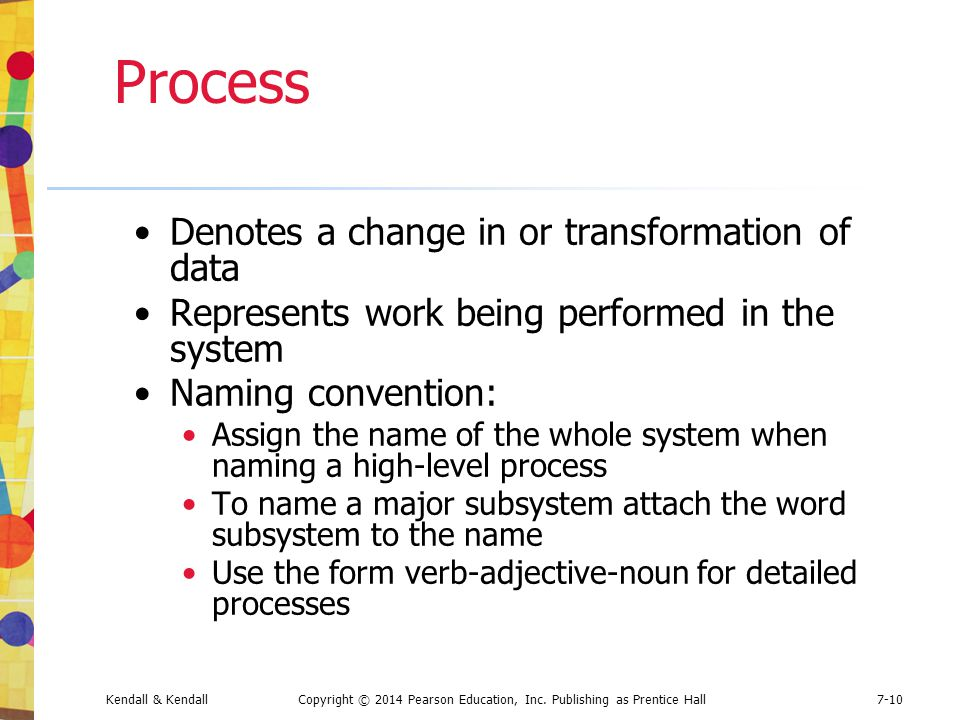 Process Denotes a change in or transformation of data