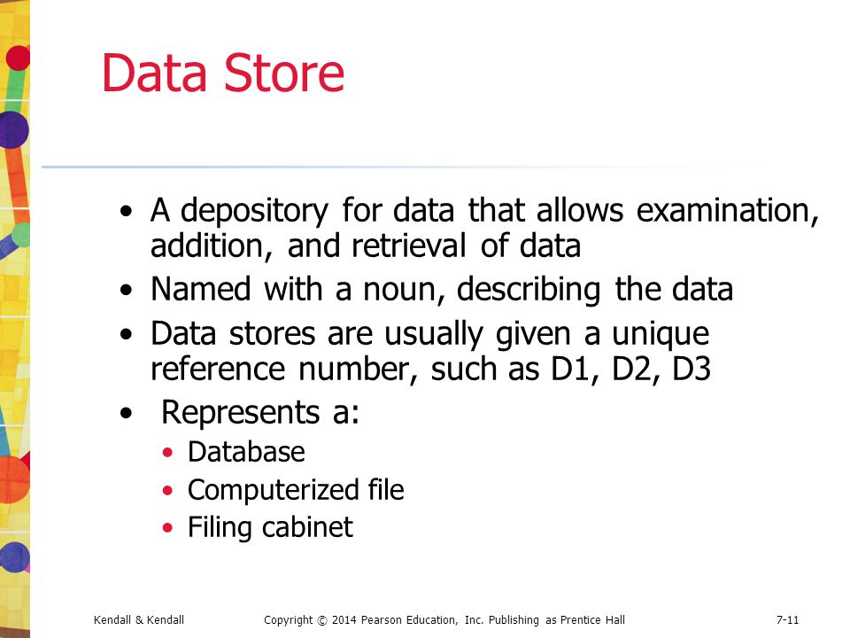 Data Store A depository for data that allows examination, addition, and retrieval of data. Named with a noun, describing the data.