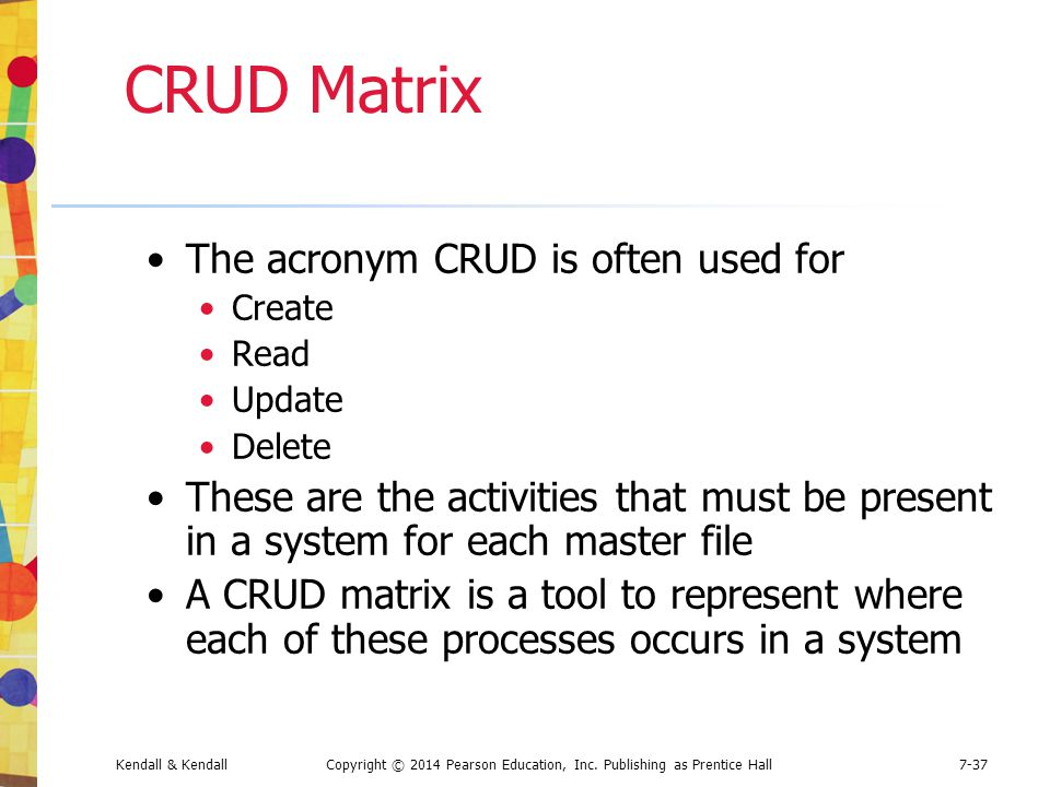 CRUD Matrix The acronym CRUD is often used for