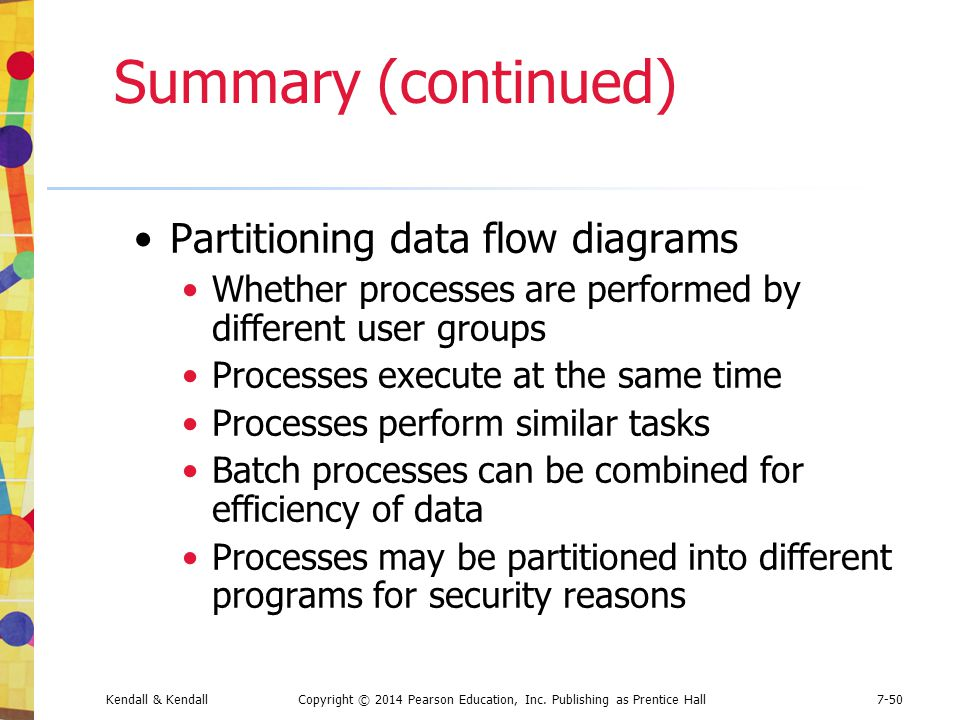 Summary (continued) Partitioning data flow diagrams