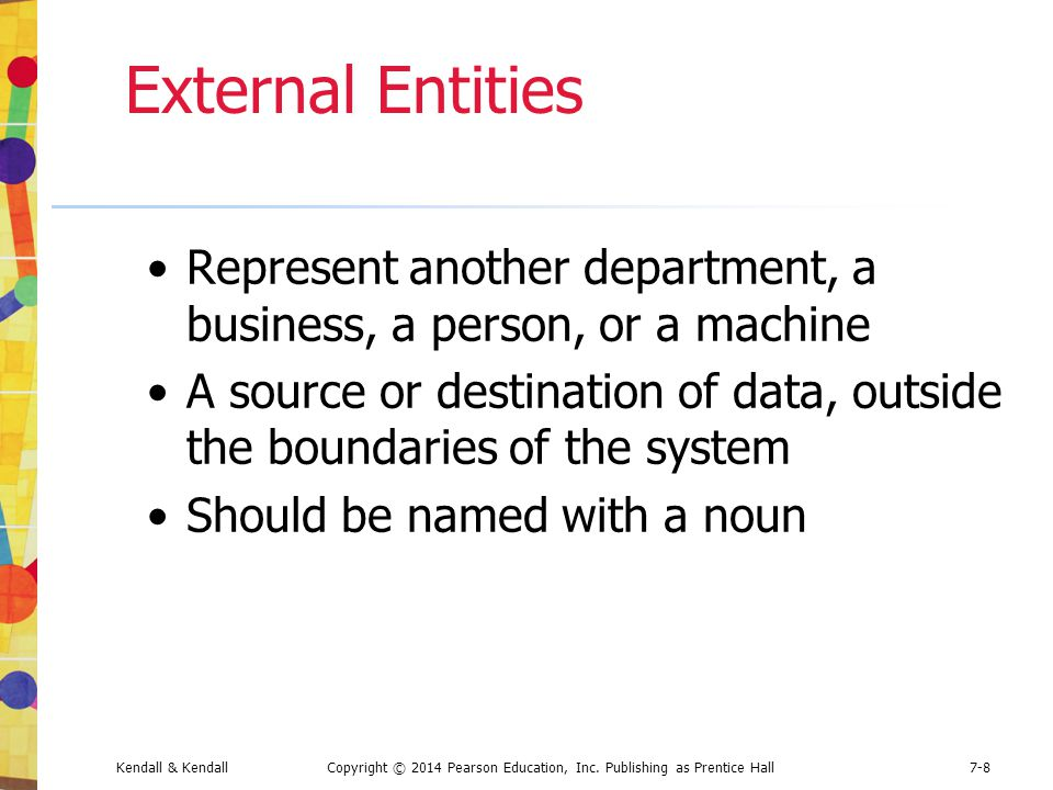 External Entities Represent another department, a business, a person, or a machine.