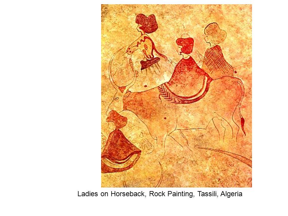 Ladies on Horseback, Rock Painting, Tassili, Algeria