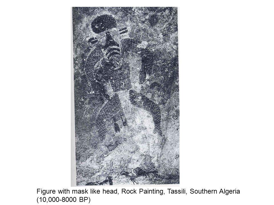 Figure with mask like head, Rock Painting, Tassili, Southern Algeria