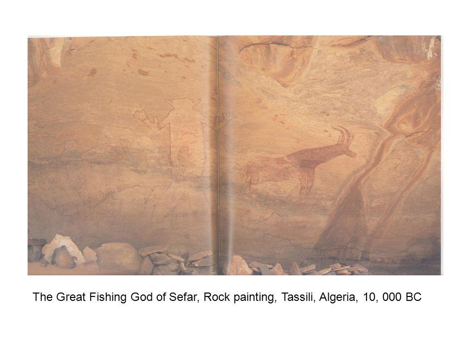The Great Fishing God of Sefar, Rock painting, Tassili, Algeria, 10, 000 BC