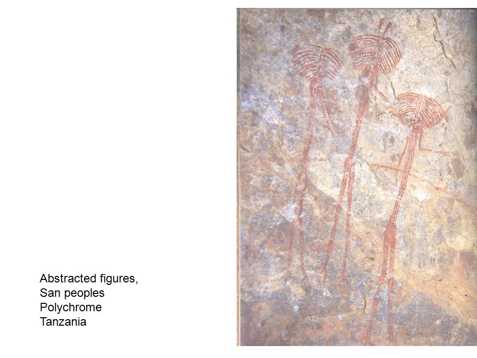 Abstracted figures, San peoples Polychrome Tanzania