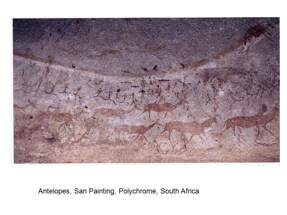Antelopes, San Painting, Polychrome, South Africa