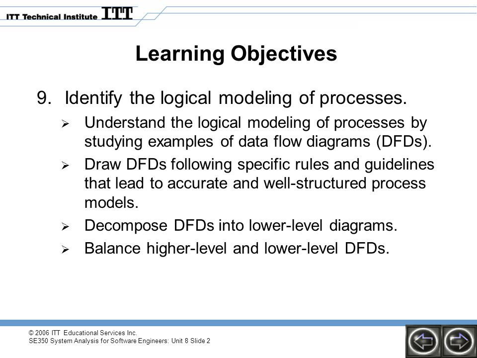 Learning Objectives Identify the logical modeling of processes.