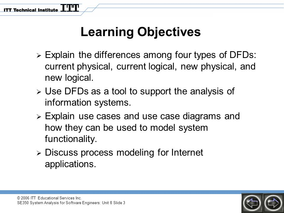 Learning Objectives Explain the differences among four types of DFDs: current physical, current logical, new physical, and new logical.