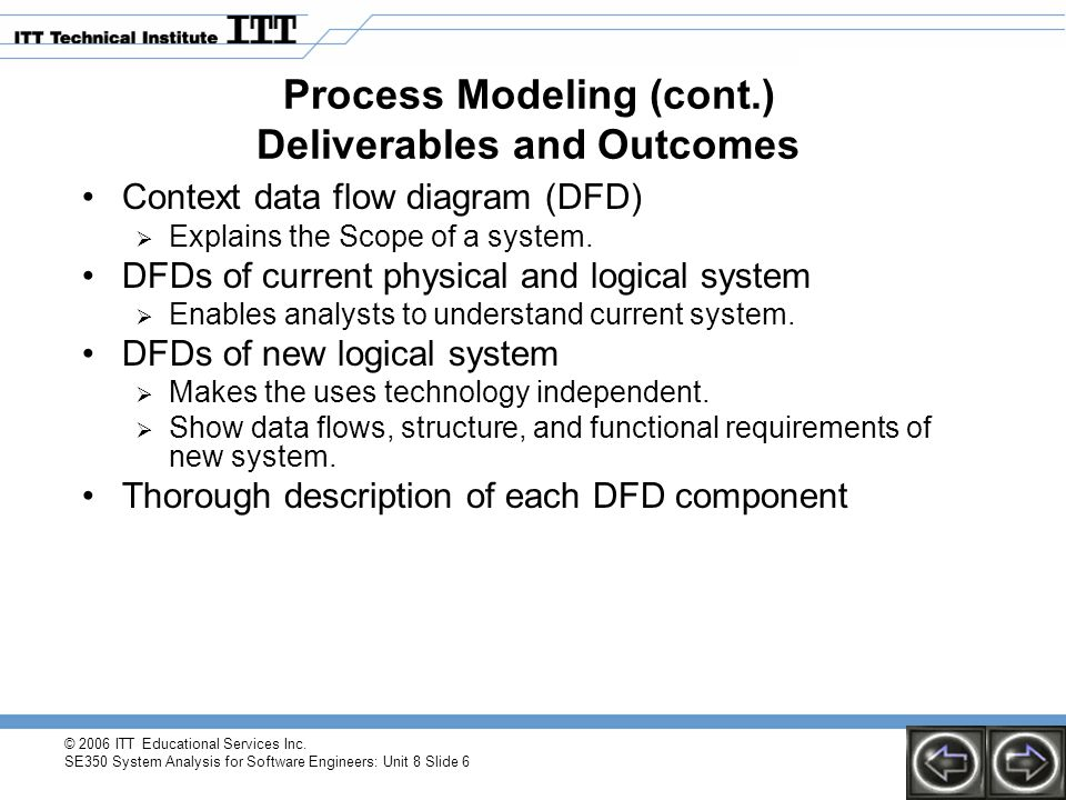 Process Modeling (cont.) Deliverables and Outcomes