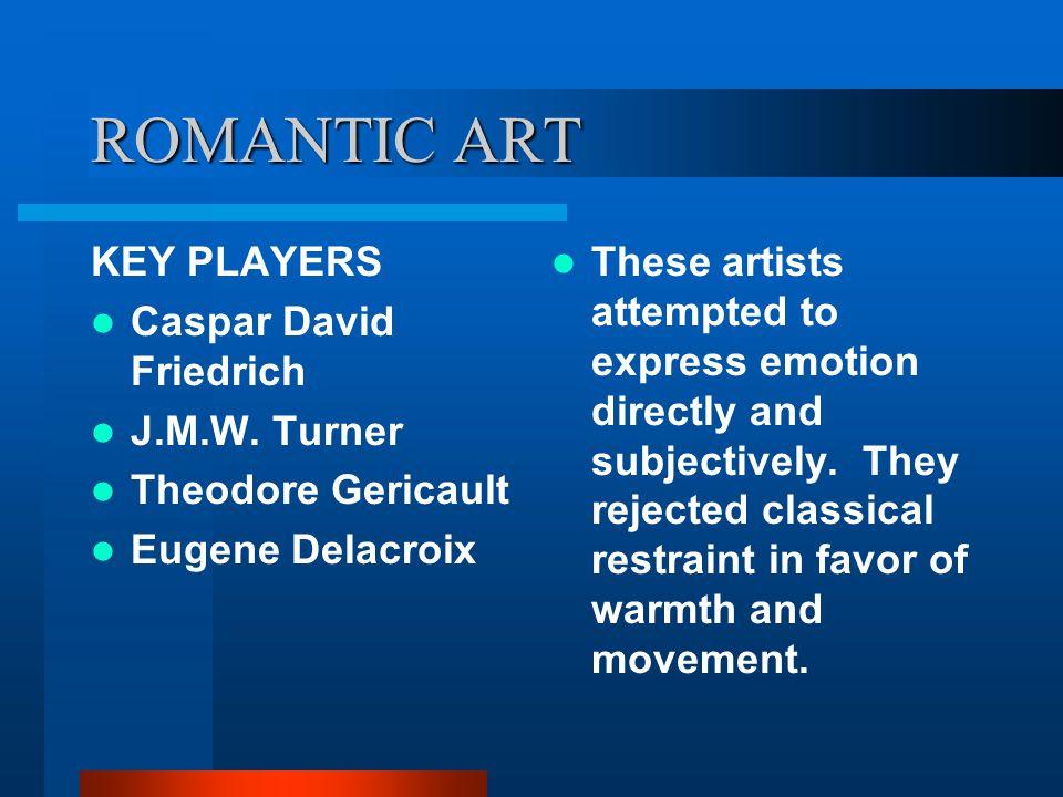 ROMANTIC ART KEY PLAYERS Caspar David Friedrich J.M.W. Turner
