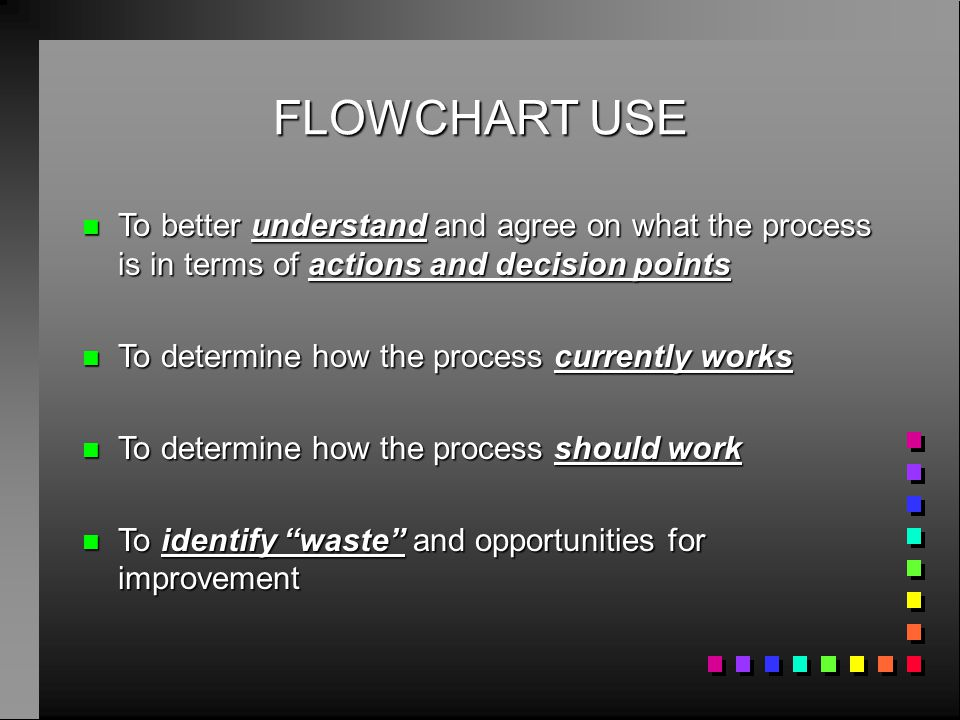 FLOWCHART USE To better understand and agree on what the process is in terms of actions and decision points.