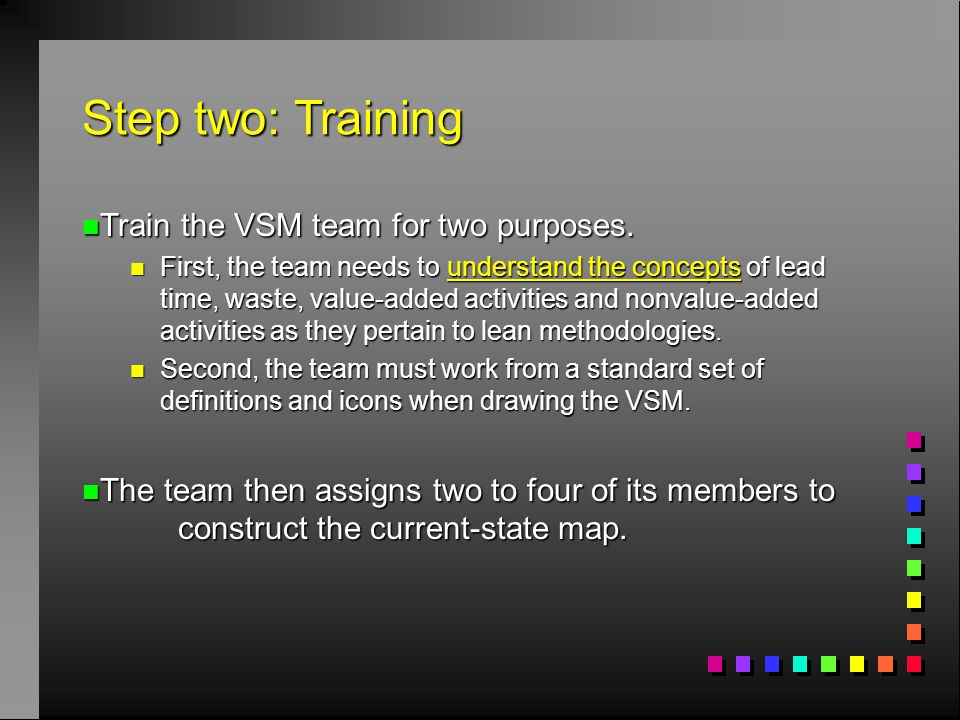 Step two: Training Train the VSM team for two purposes.
