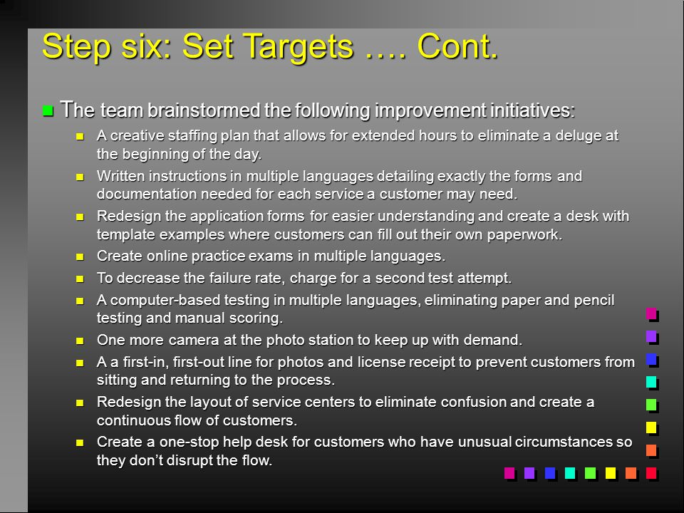 Step six: Set Targets …. Cont.
