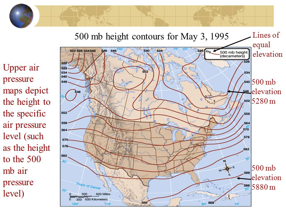 500 mb height contours for May 3, 1995