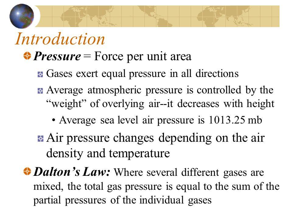 Introduction Pressure = Force per unit area