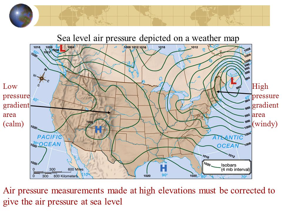 Sea level air pressure depicted on a weather map