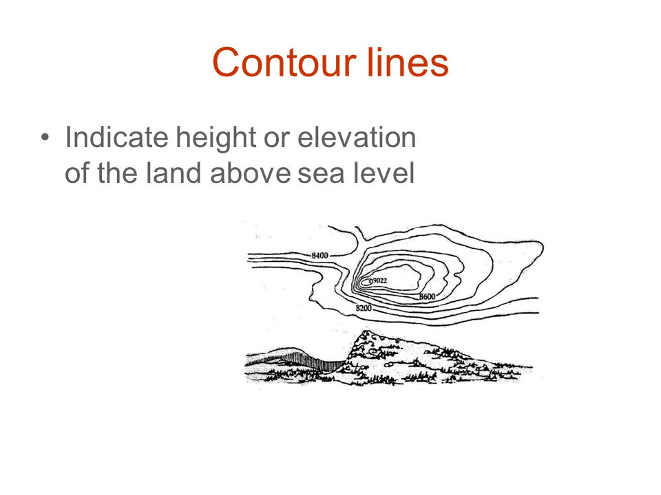 Contour lines Indicate height or elevation of the land above sea level
