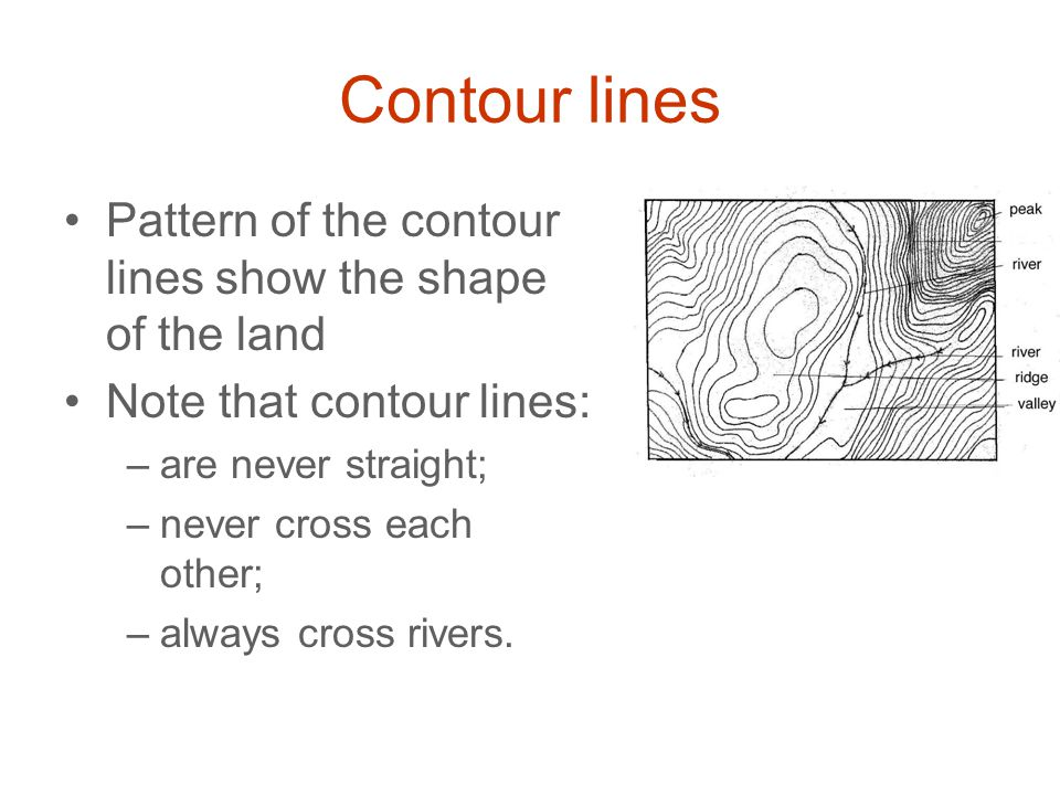 Contour lines Pattern of the contour lines show the shape of the land