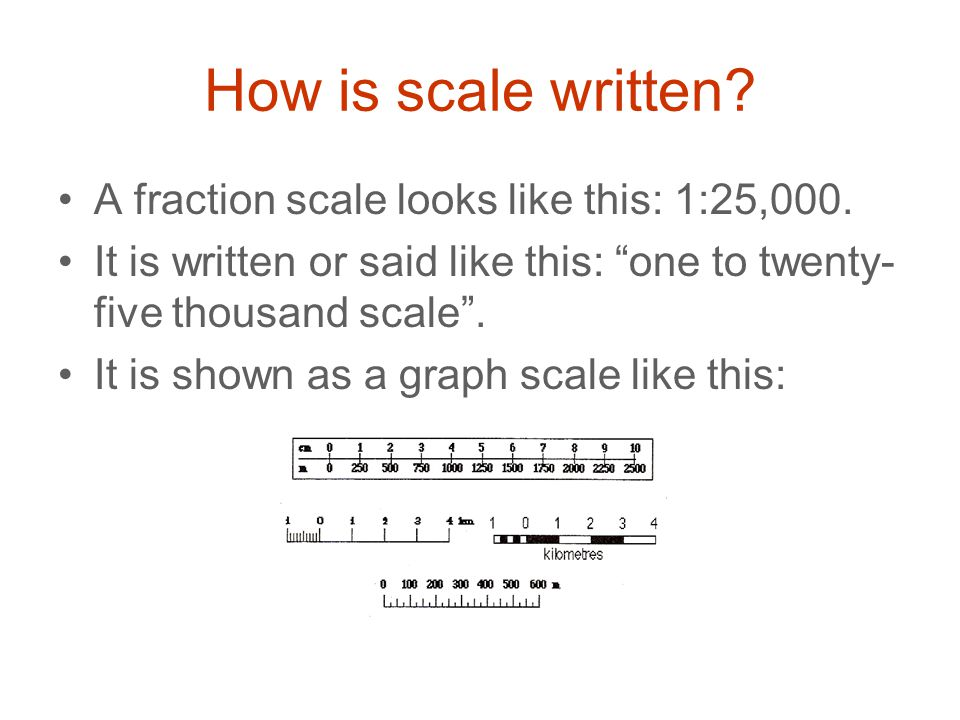 How is scale written A fraction scale looks like this: 1:25,000.