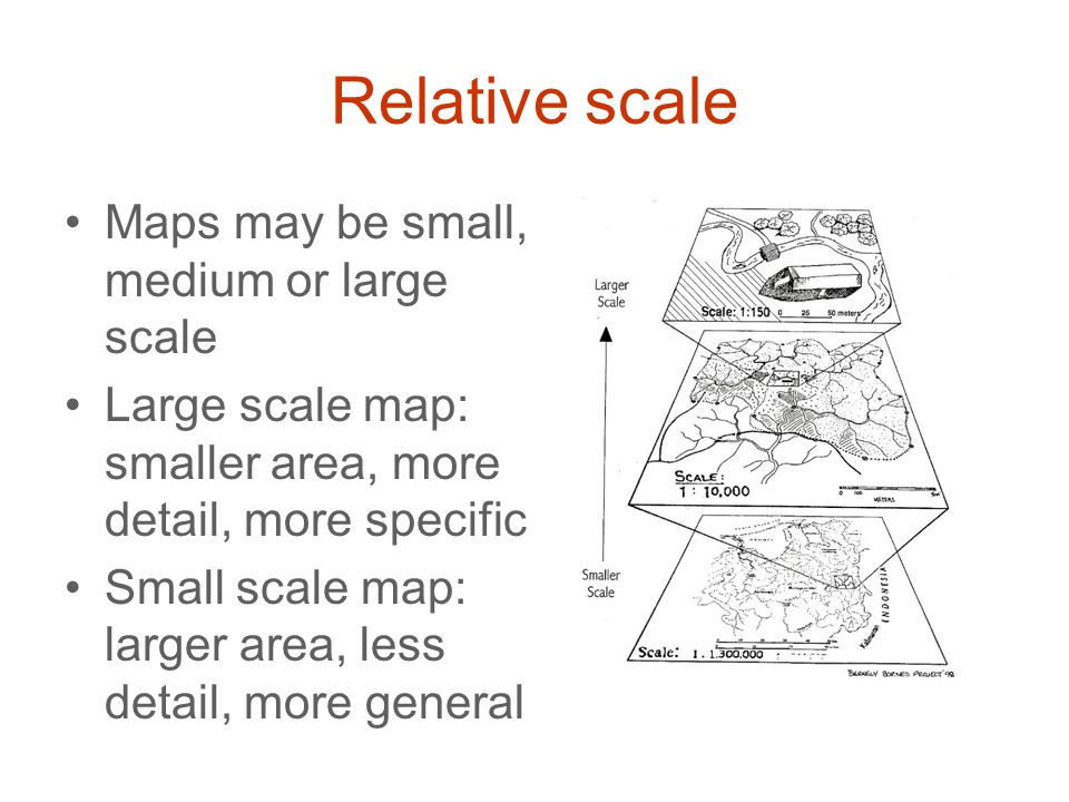 Relative scale Maps may be small, medium or large scale