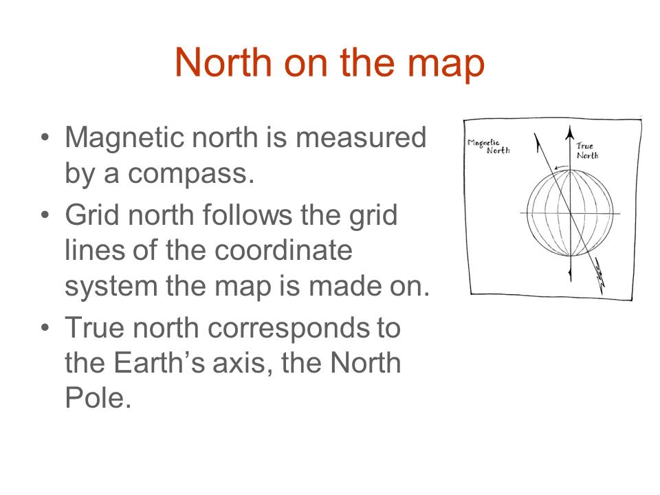 North on the map Magnetic north is measured by a compass.