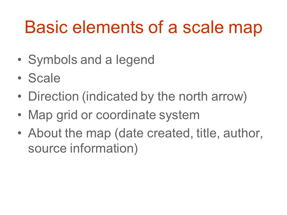 Basic elements of a scale map